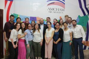 Estudiantes de Augsburg University – Conociendo sobre la inversión extranjera y el papel que juega AmCham Nicaragua